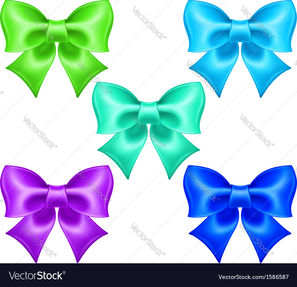 Silk bows in cool colors vector | Price: 1 Credit (USD $1)