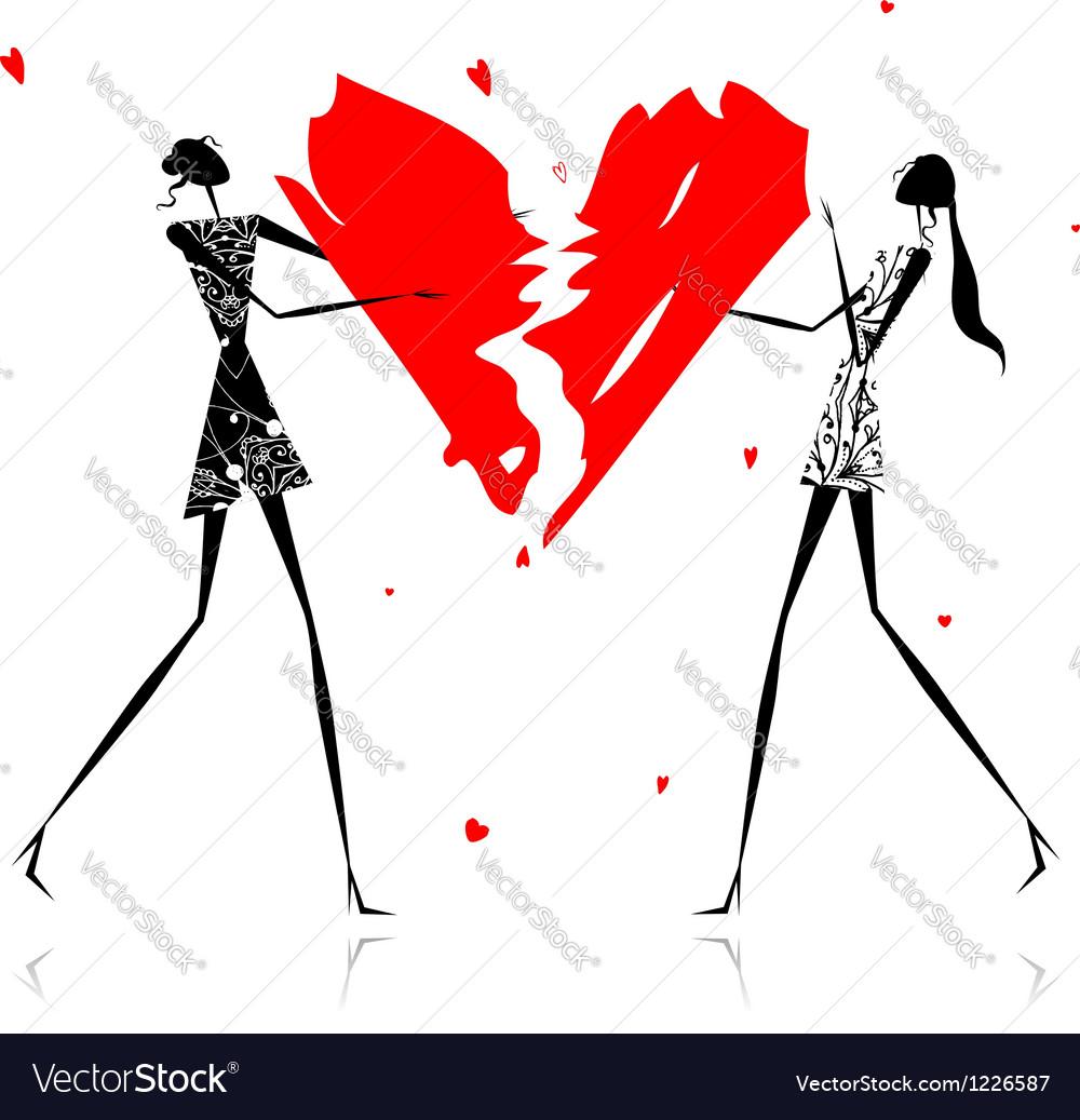 Valentine day girls with broken heart vector | Price: 1 Credit (USD $1)