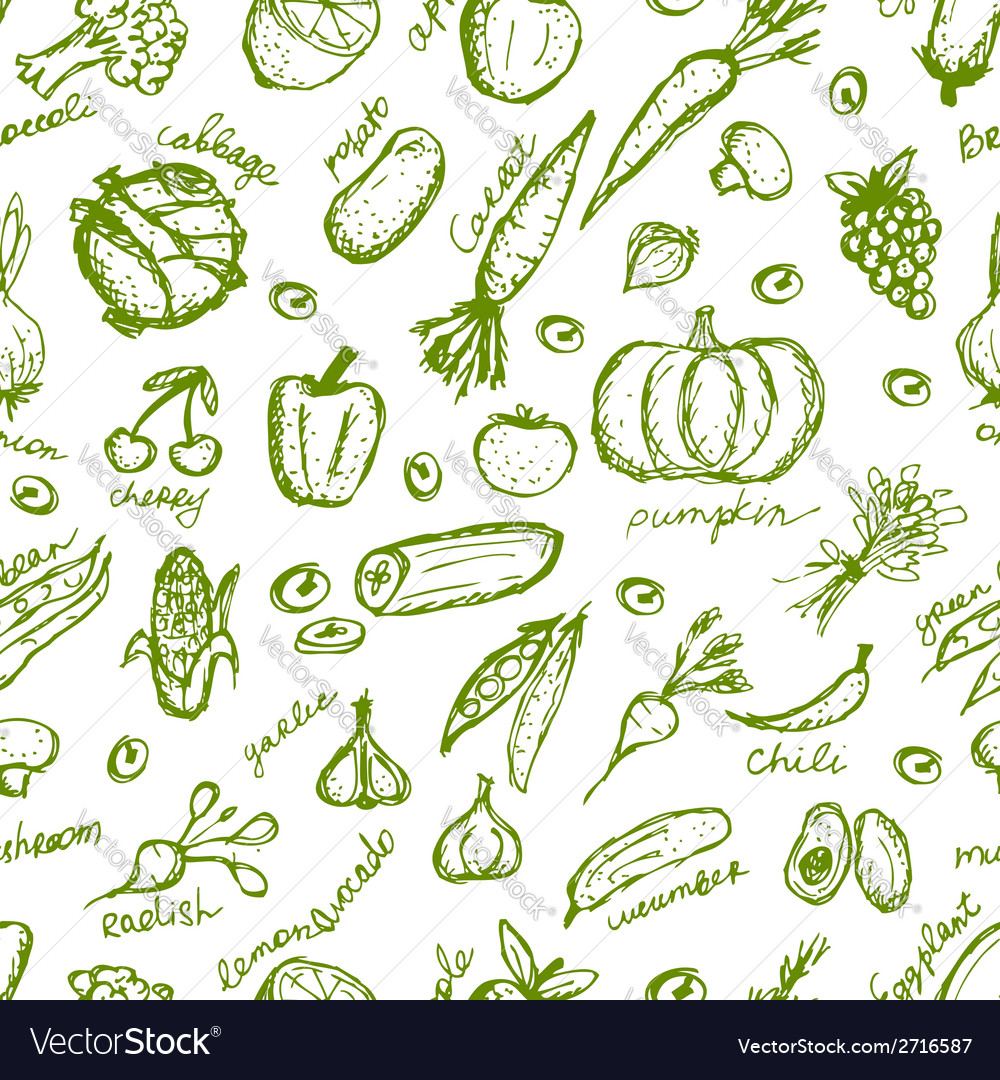 Vegetable seamless pattern for your design vector | Price: 1 Credit (USD $1)