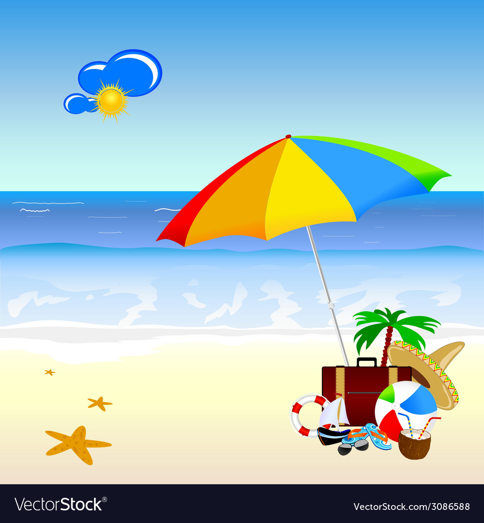 Beach with stuff art vector | Price: 1 Credit (USD $1)