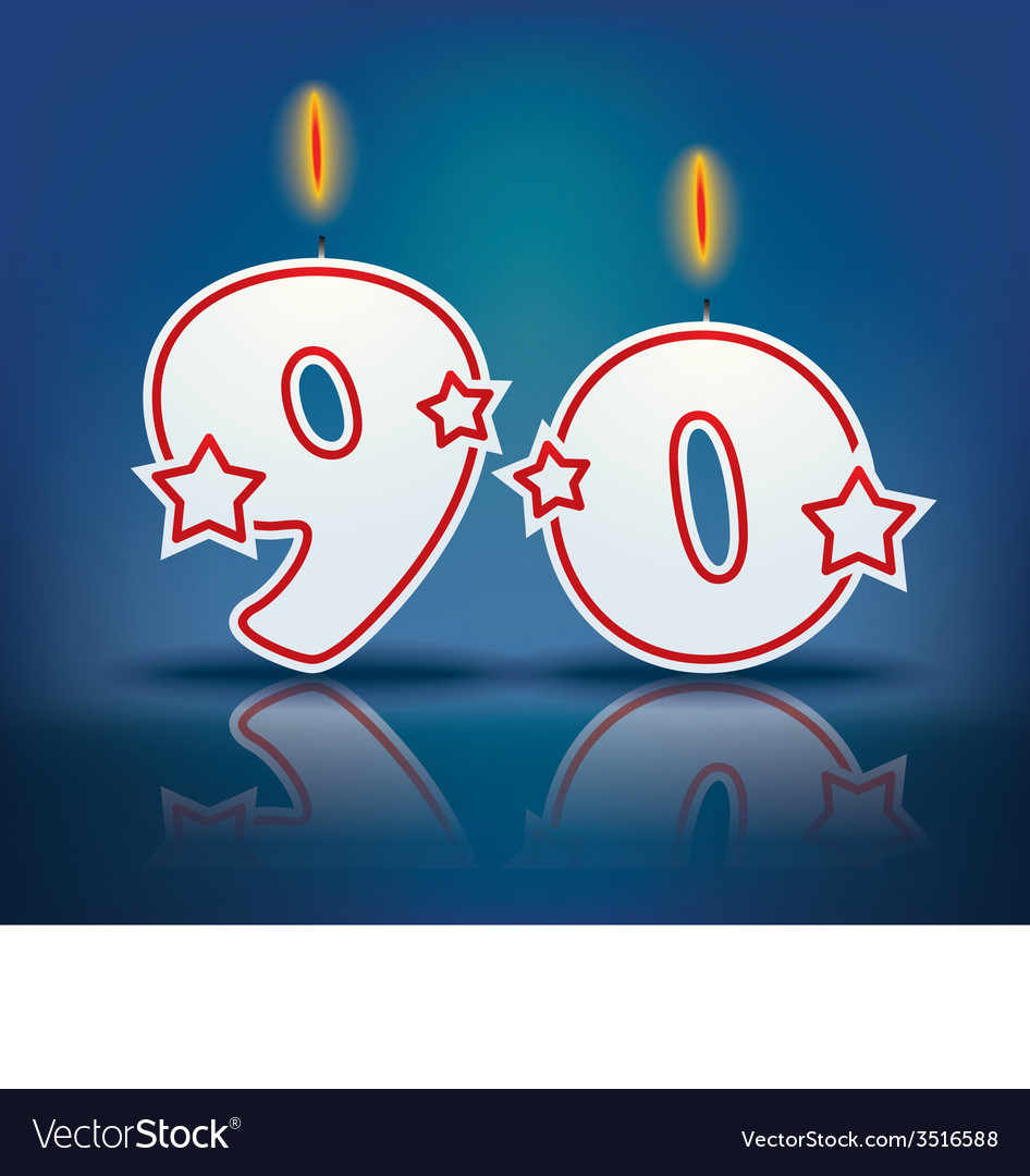 Birthday candle number 90 vector | Price: 1 Credit (USD $1)