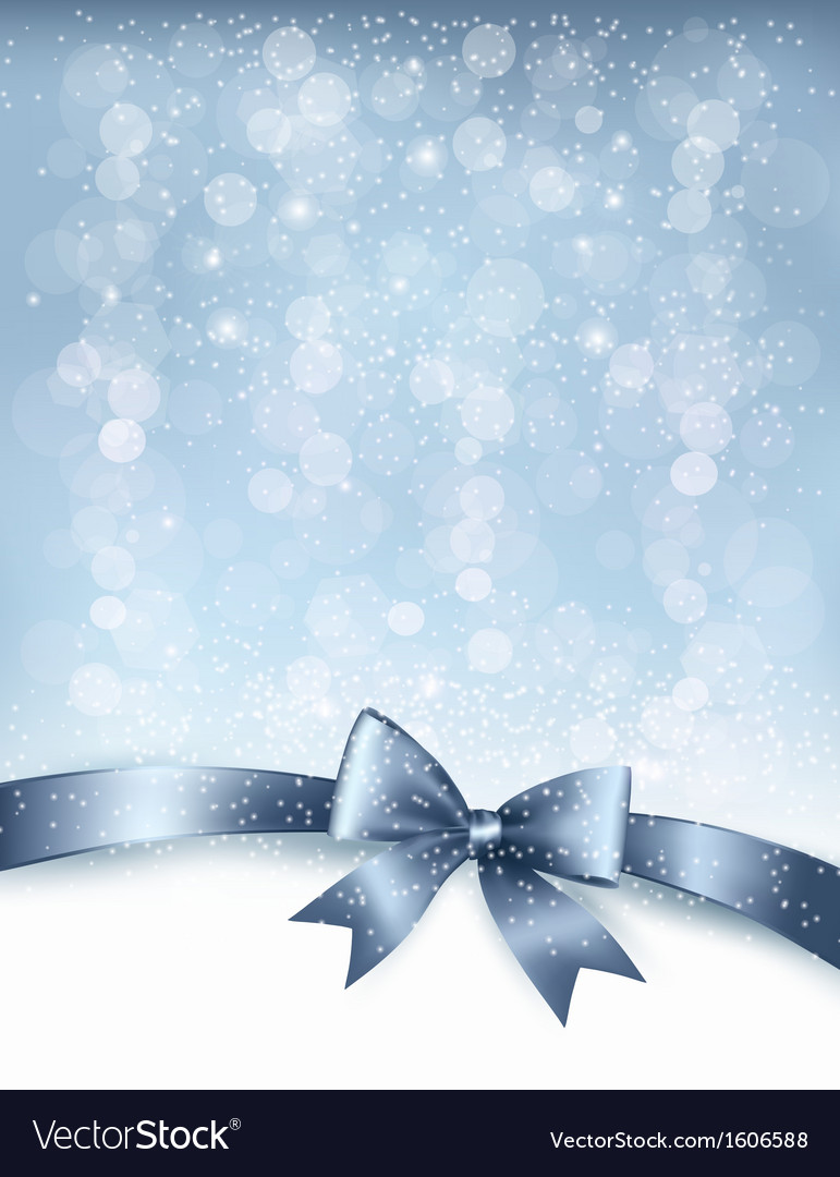 Christmas holiday background with gift glossy bow vector | Price: 1 Credit (USD $1)