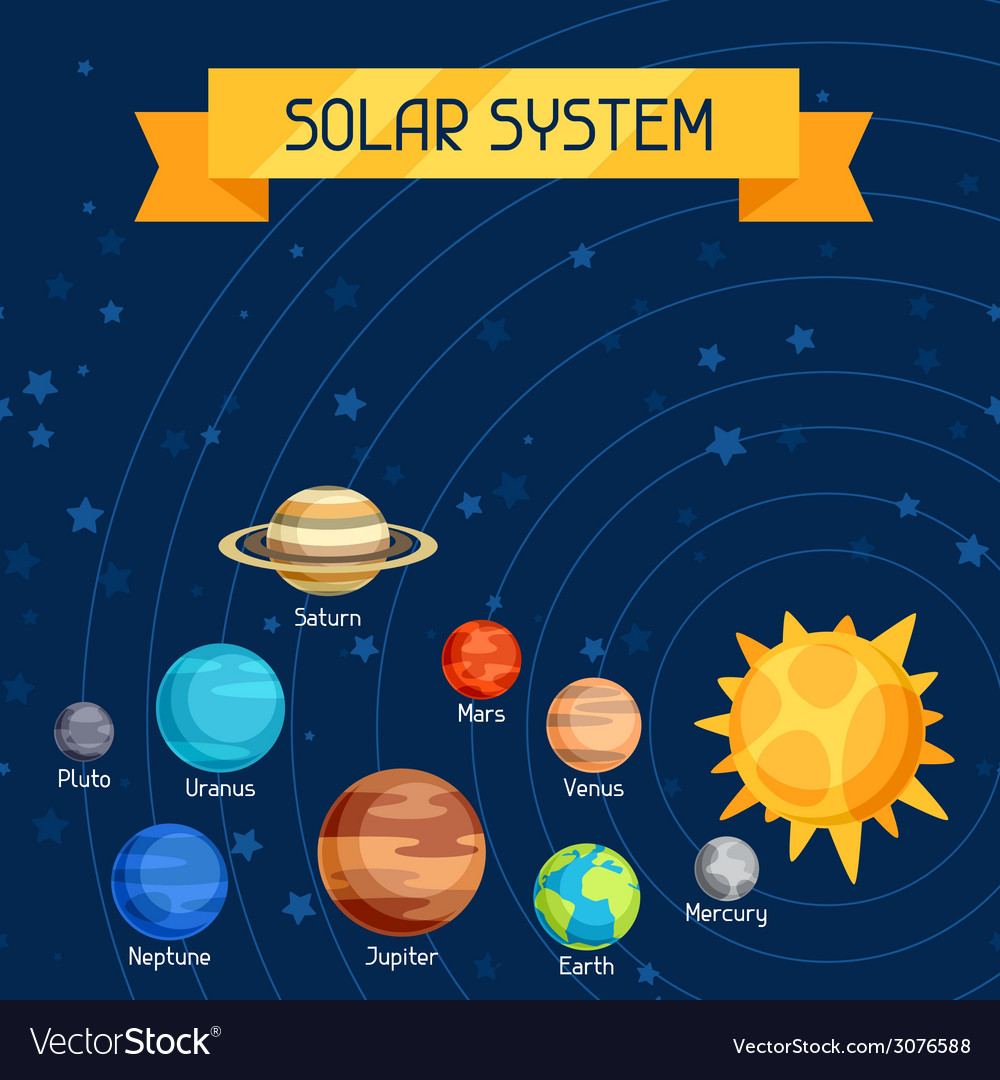 Cosmic with planets of the solar system vector | Price: 1 Credit (USD $1)