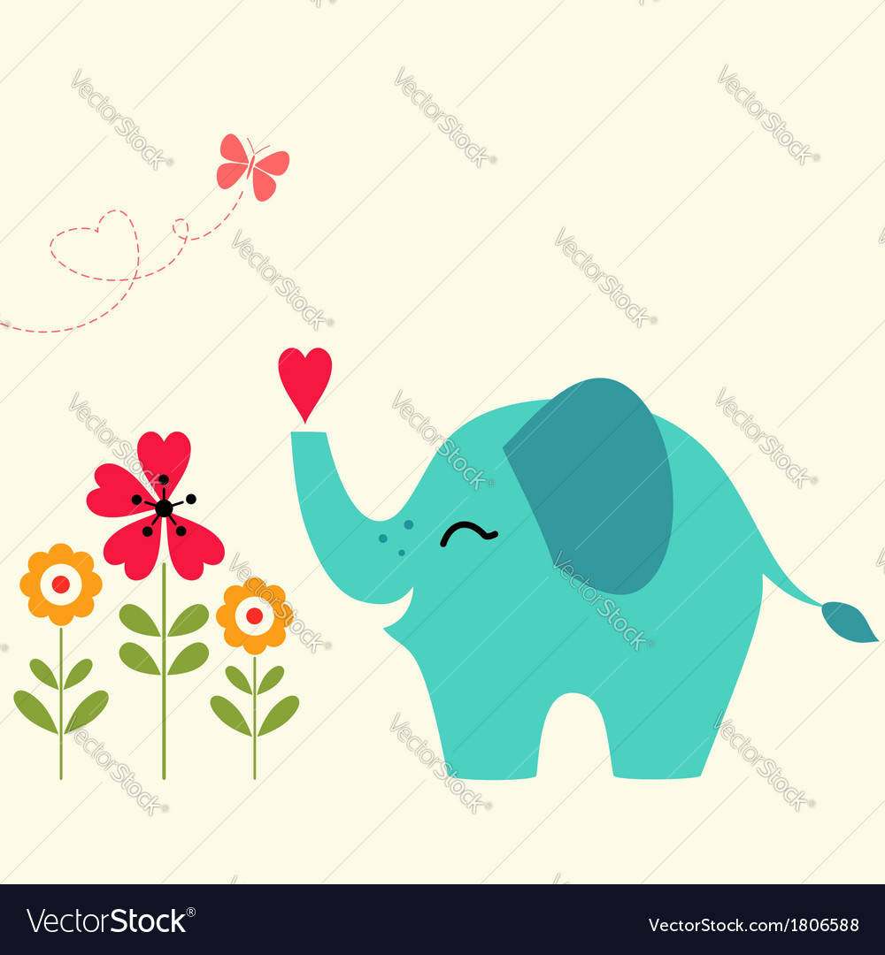 Elephant with heart vector | Price: 1 Credit (USD $1)