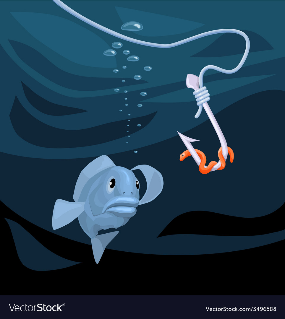 Fish gazing at a hook with a worm vector | Price: 1 Credit (USD $1)