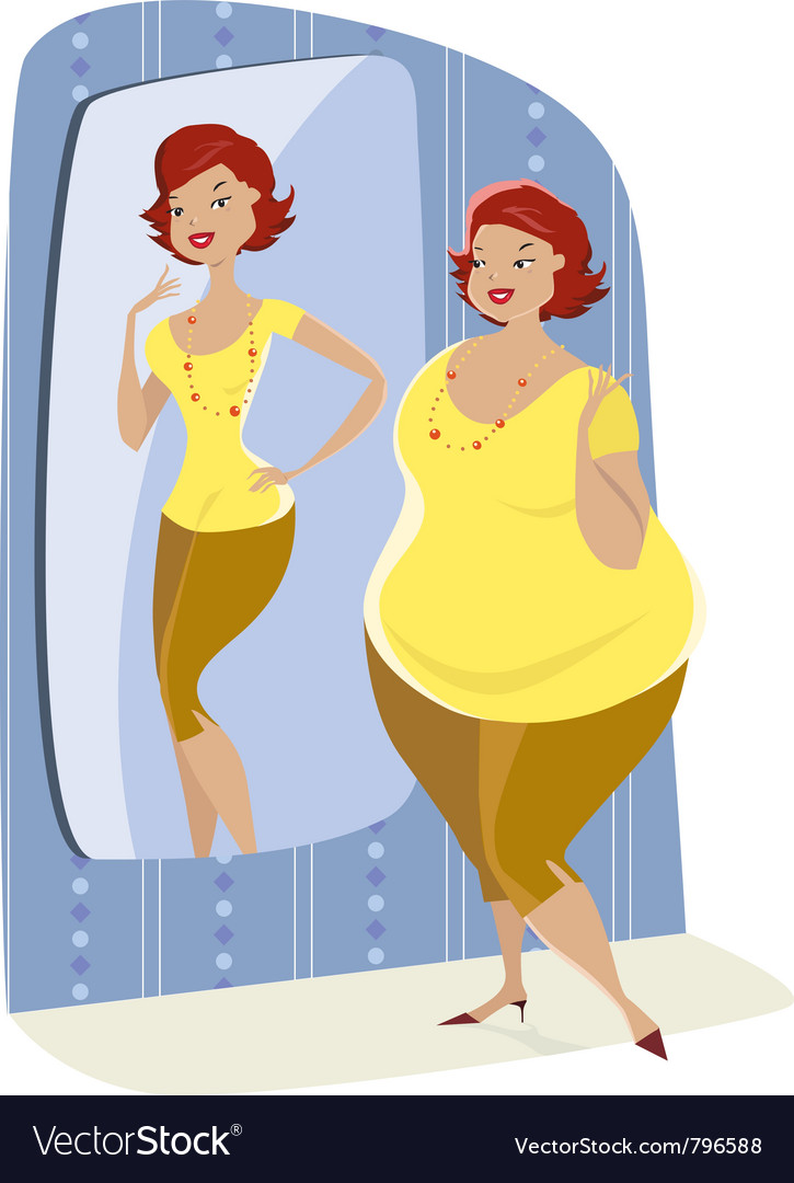 Full lady and her slim reflection vector | Price: 3 Credit (USD $3)