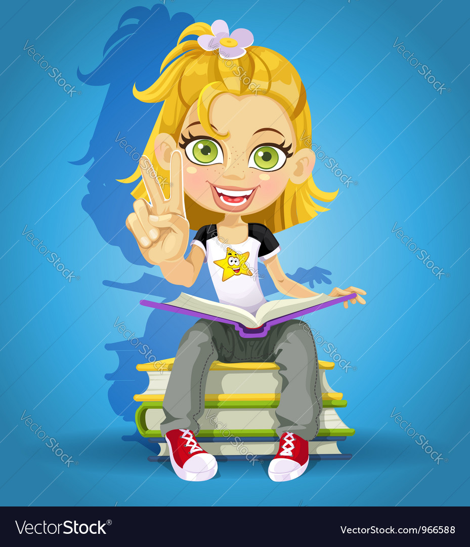 Schoolgirl read on a pile of books vector | Price: 5 Credit (USD $5)
