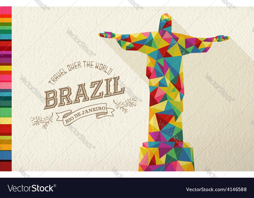 Travel brazil landmark polygonal monument vector | Price: 1 Credit (USD $1)