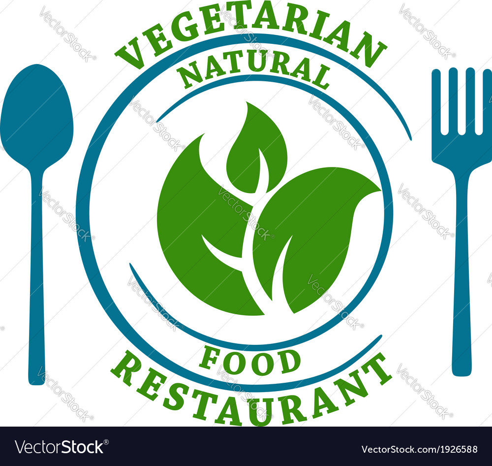 Vegetarian natural food restaurant icon vector | Price: 1 Credit (USD $1)