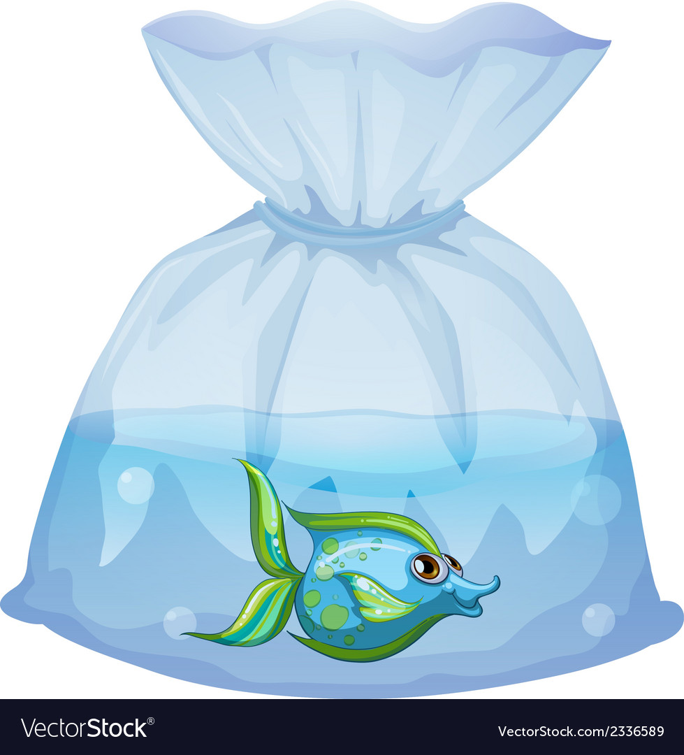 A blue fish inside the plastic pouch vector | Price: 1 Credit (USD $1)