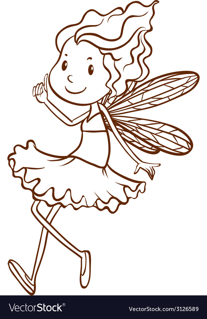 A plain sketch of a fairy vector | Price: 1 Credit (USD $1)