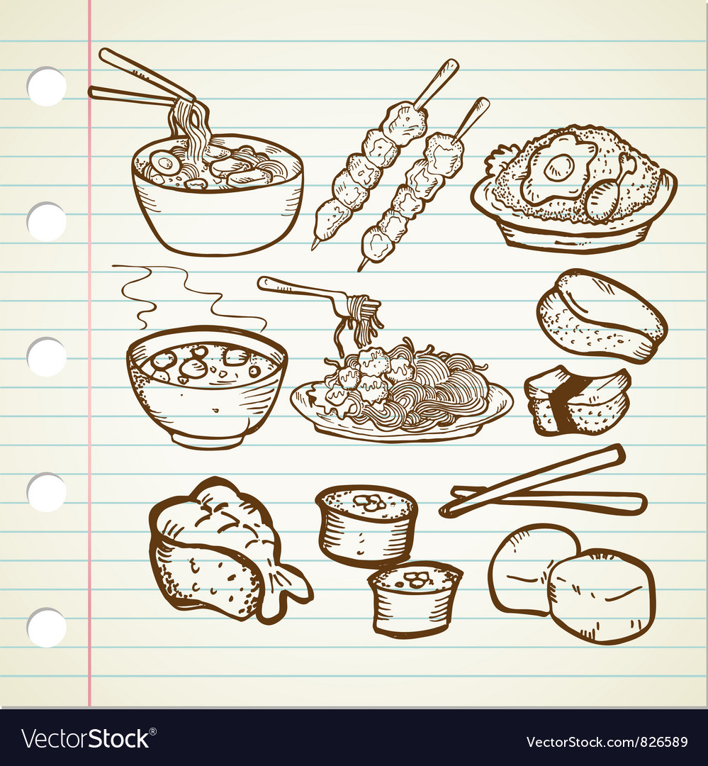 Asian food doodle vector | Price: 1 Credit (USD $1)