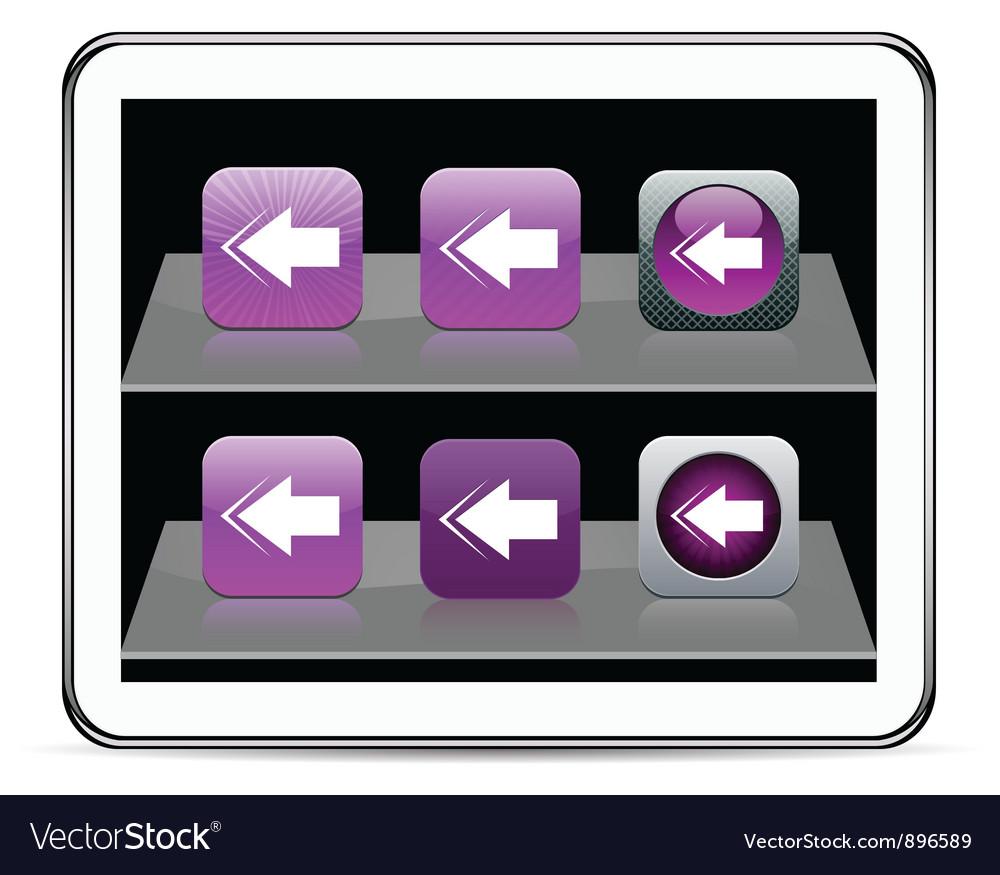 Back arrow purple app icons vector | Price: 1 Credit (USD $1)