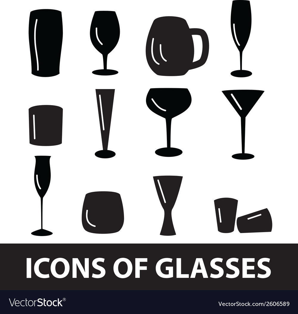 Black glasses icons set eps10 vector | Price: 1 Credit (USD $1)