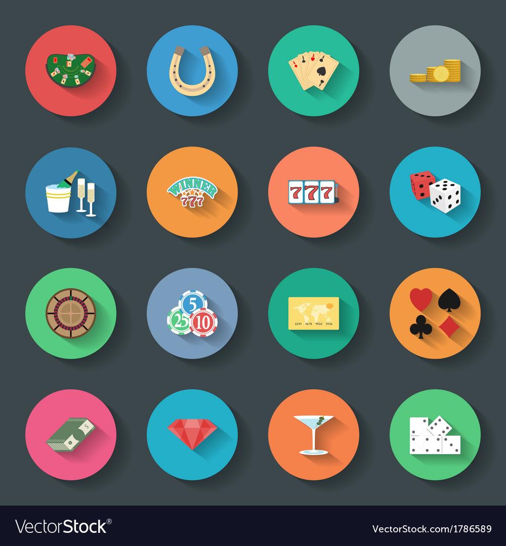 Casino flat icons set vector | Price: 1 Credit (USD $1)
