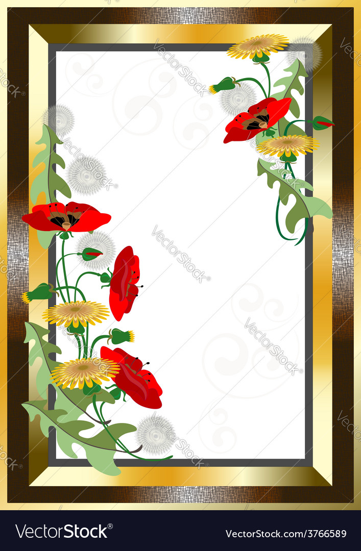Classical gold plated frame with wildflowers vector | Price: 1 Credit (USD $1)