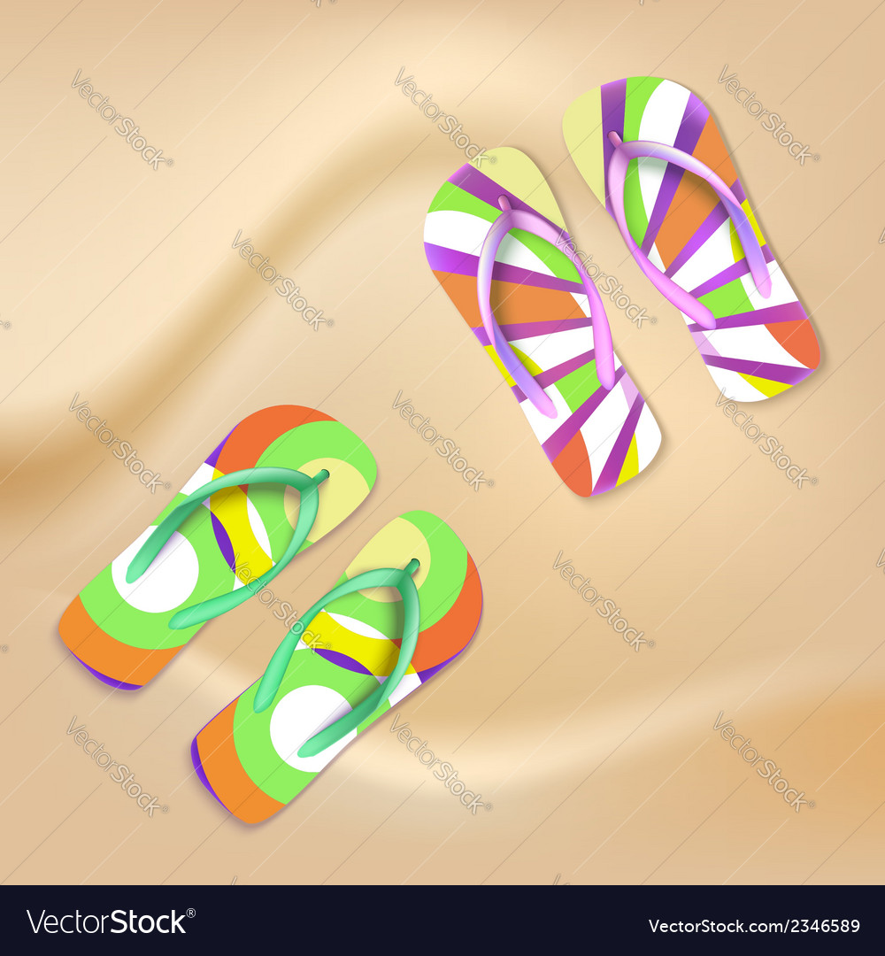 Colored beach slippers the sandy background vector | Price: 1 Credit (USD $1)