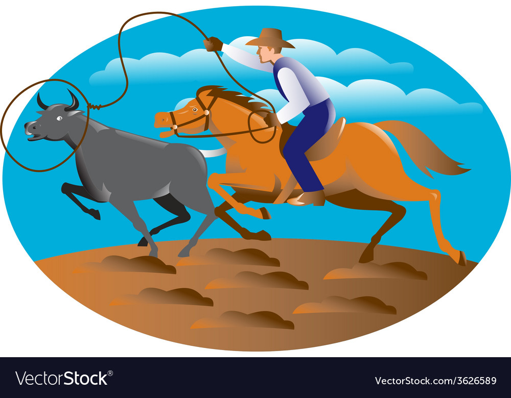Cowboy riding horse lasso bull cow vector | Price: 1 Credit (USD $1)