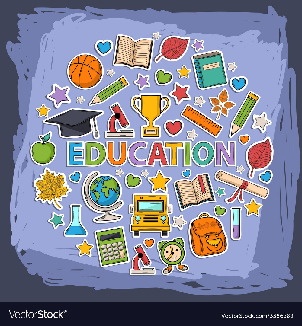 Doodle education set vector | Price: 1 Credit (USD $1)