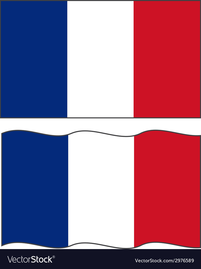 Flat and waving french flag vector | Price: 1 Credit (USD $1)