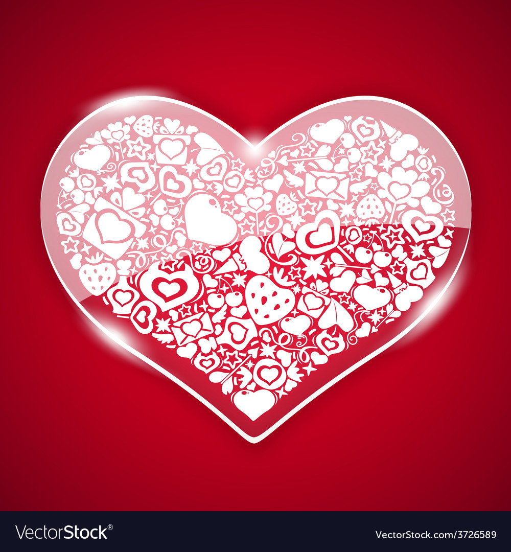 Glass valentine heart on red background vector | Price: 1 Credit (USD $1)
