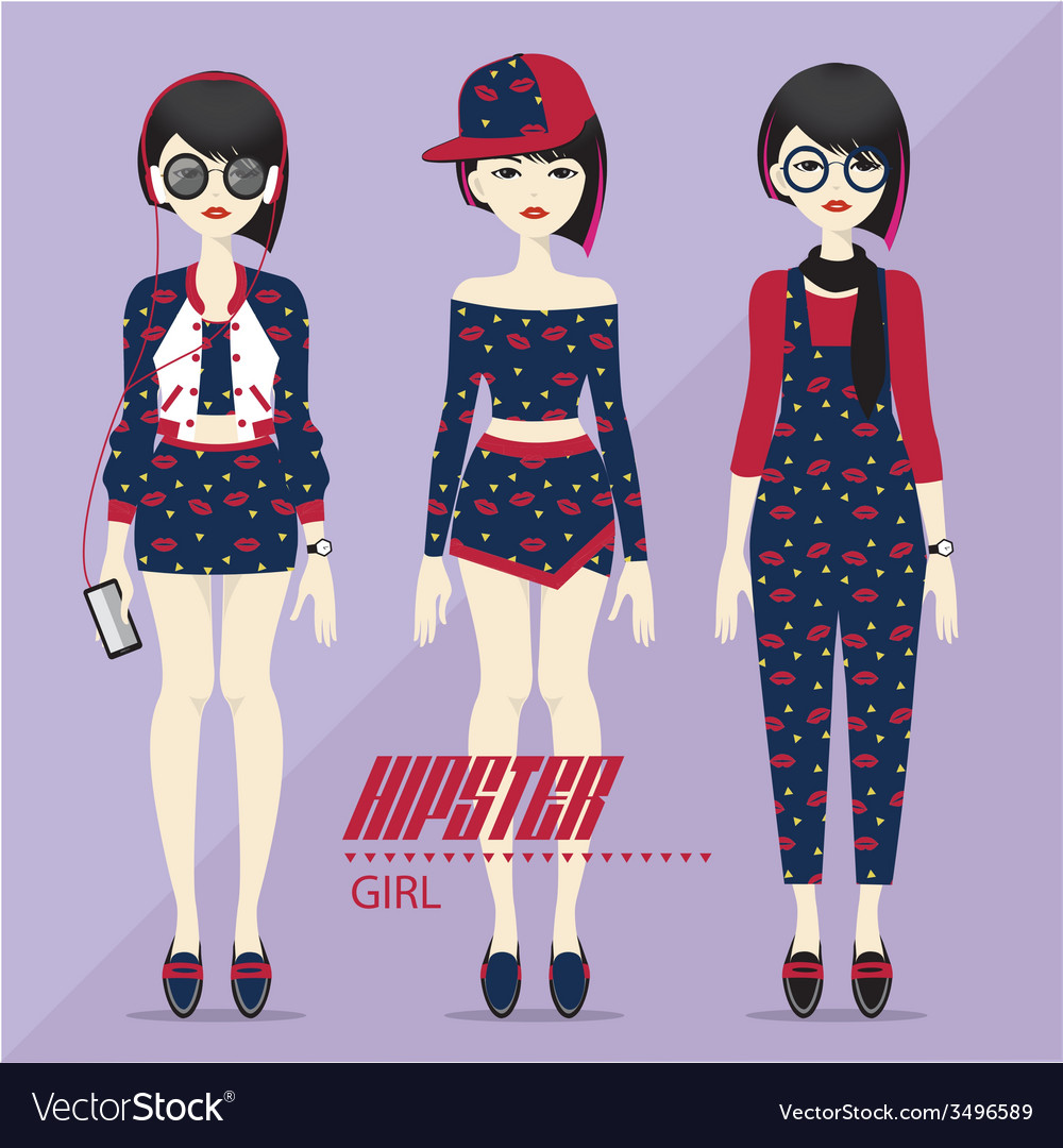Hipster girl vector | Price: 1 Credit (USD $1)
