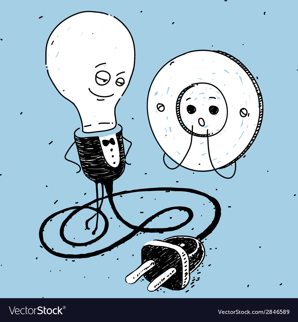 Lamp and socket caricature vector | Price: 1 Credit (USD $1)