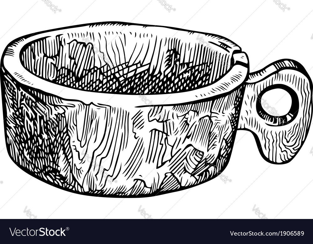 Old wooden cup vector | Price: 1 Credit (USD $1)