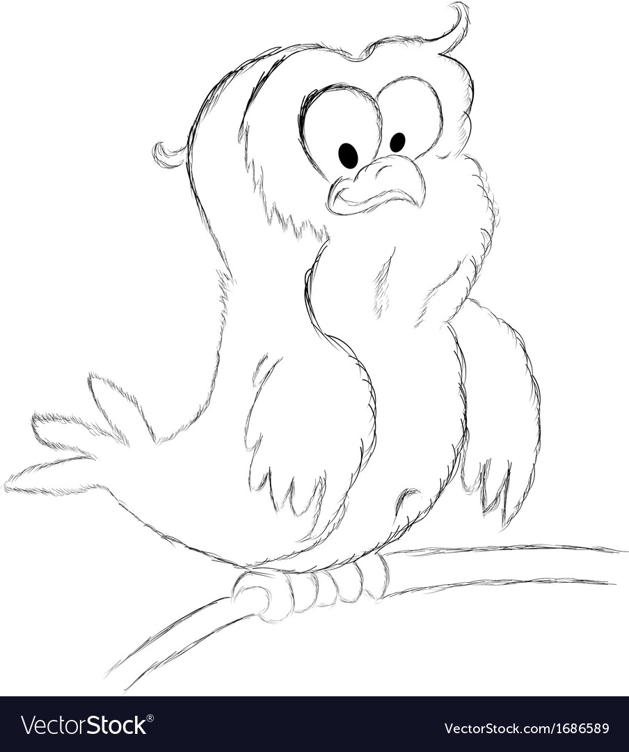 Owl sketch vector | Price: 1 Credit (USD $1)