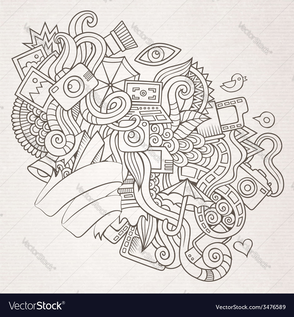Photography doodles elements sketch background vector | Price: 1 Credit (USD $1)