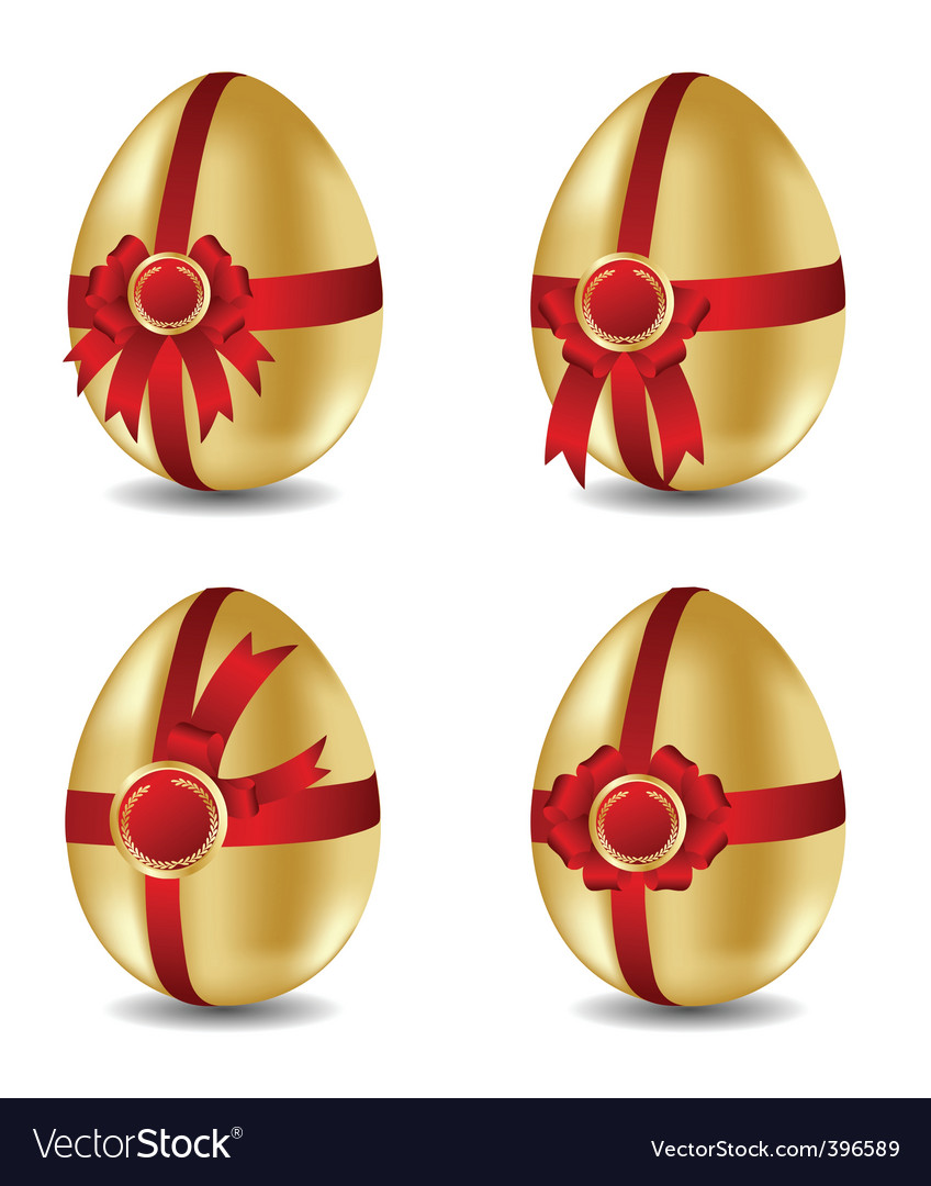Set of gold easter eggs with bows vector | Price: 1 Credit (USD $1)