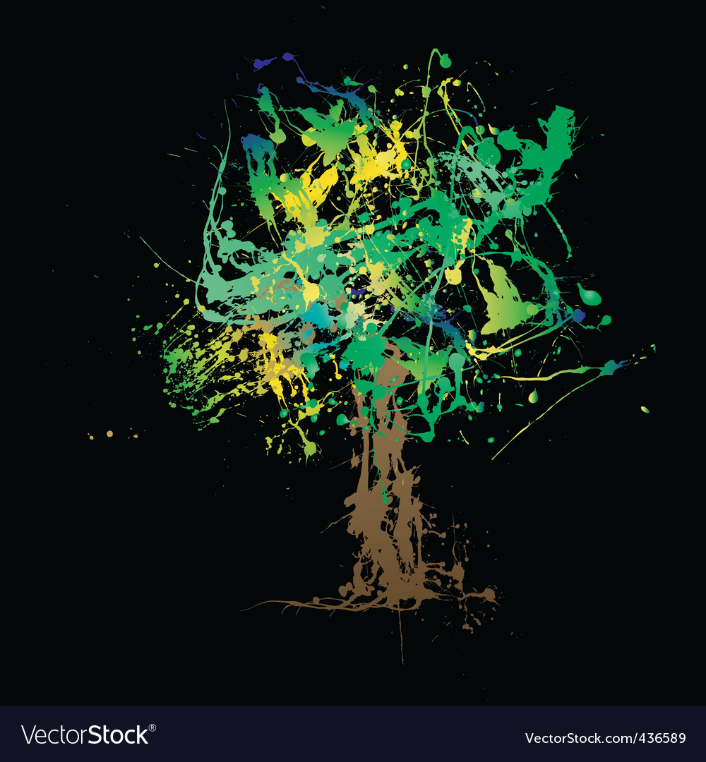 Splat tree 02 vector | Price: 1 Credit (USD $1)