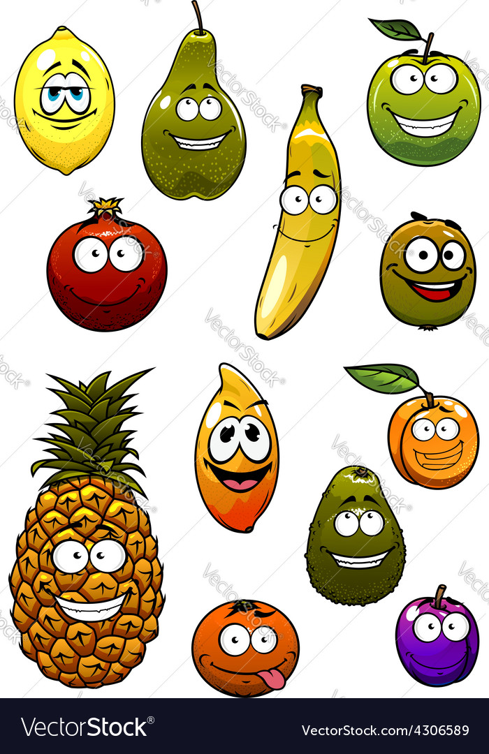 Tropical and garden fruits cartoon characters vector | Price: 1 Credit (USD $1)