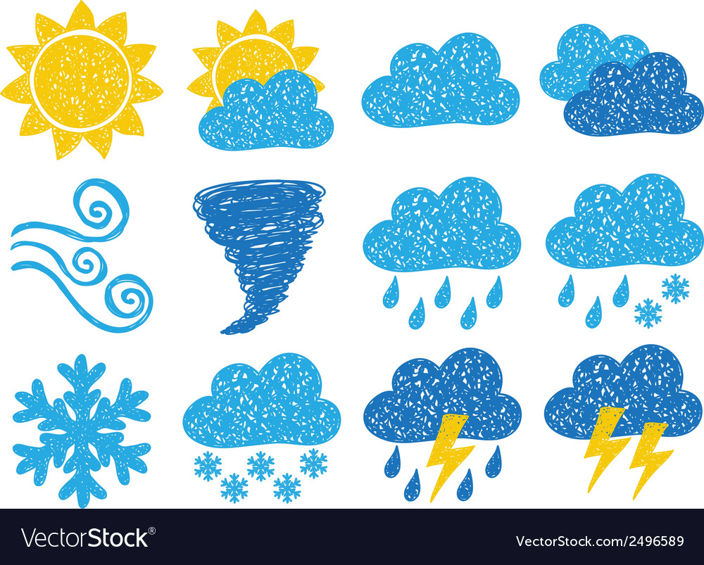 Weather doodle icons vector | Price: 1 Credit (USD $1)