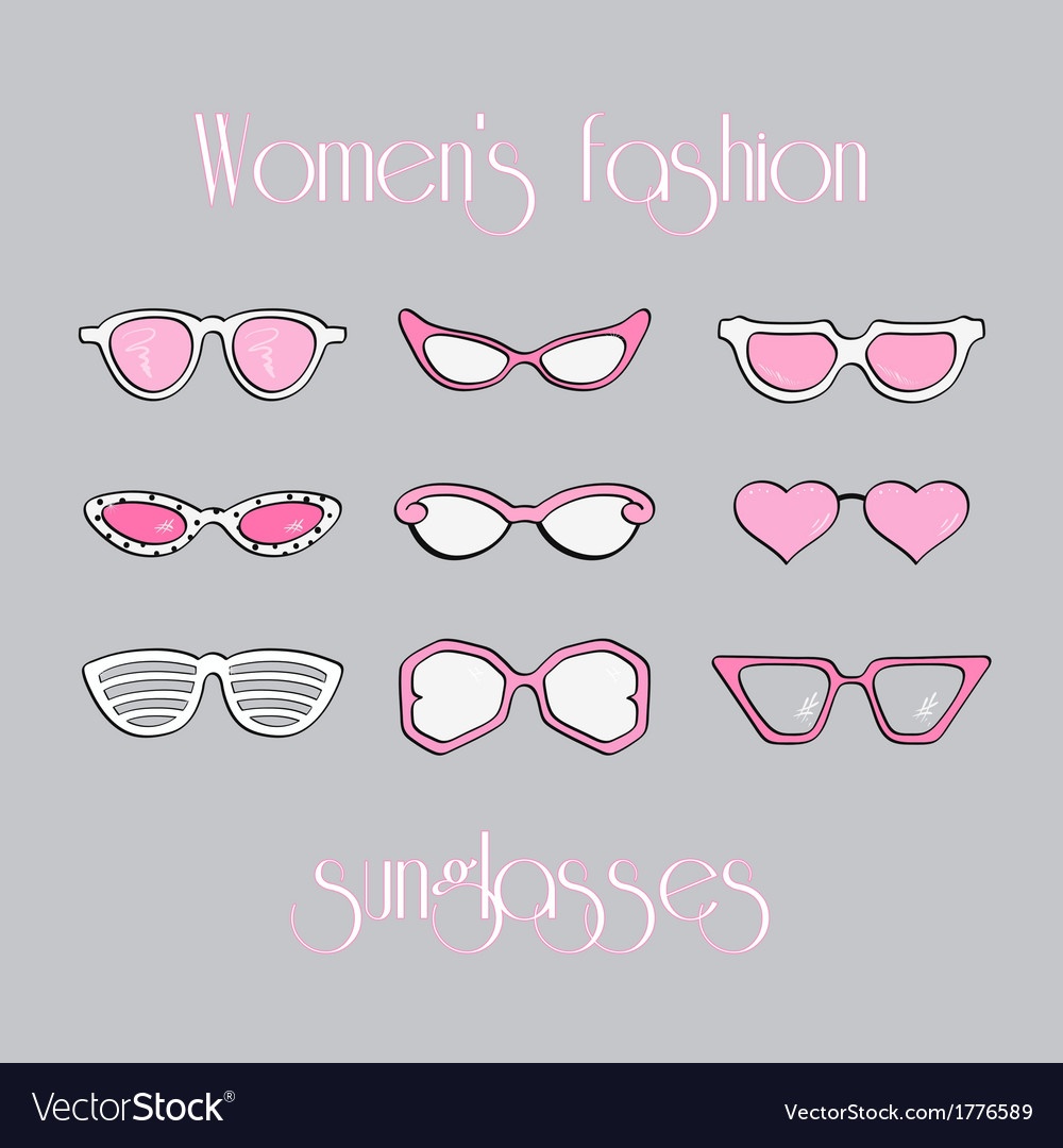Women fashion isolated sunglasses set vector | Price: 1 Credit (USD $1)