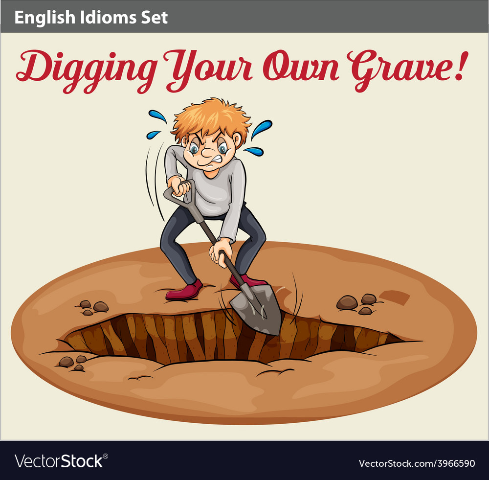 A man digging a grave vector | Price: 1 Credit (USD $1)