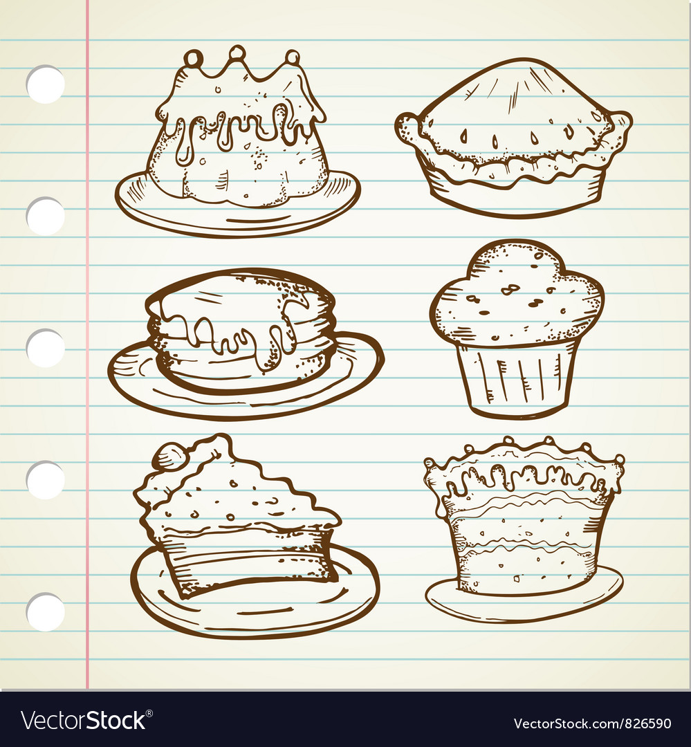 Cake doodle collections vector | Price: 1 Credit (USD $1)