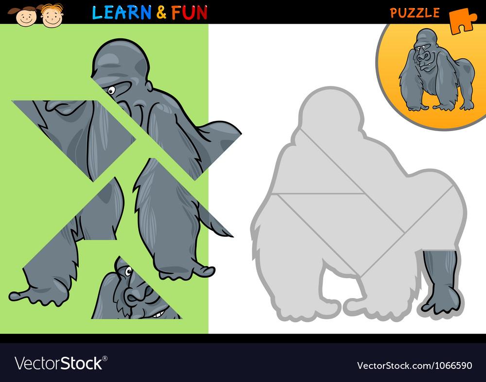 Cartoon gorilla puzzle game vector   Price: 3 Credit (USD $3)