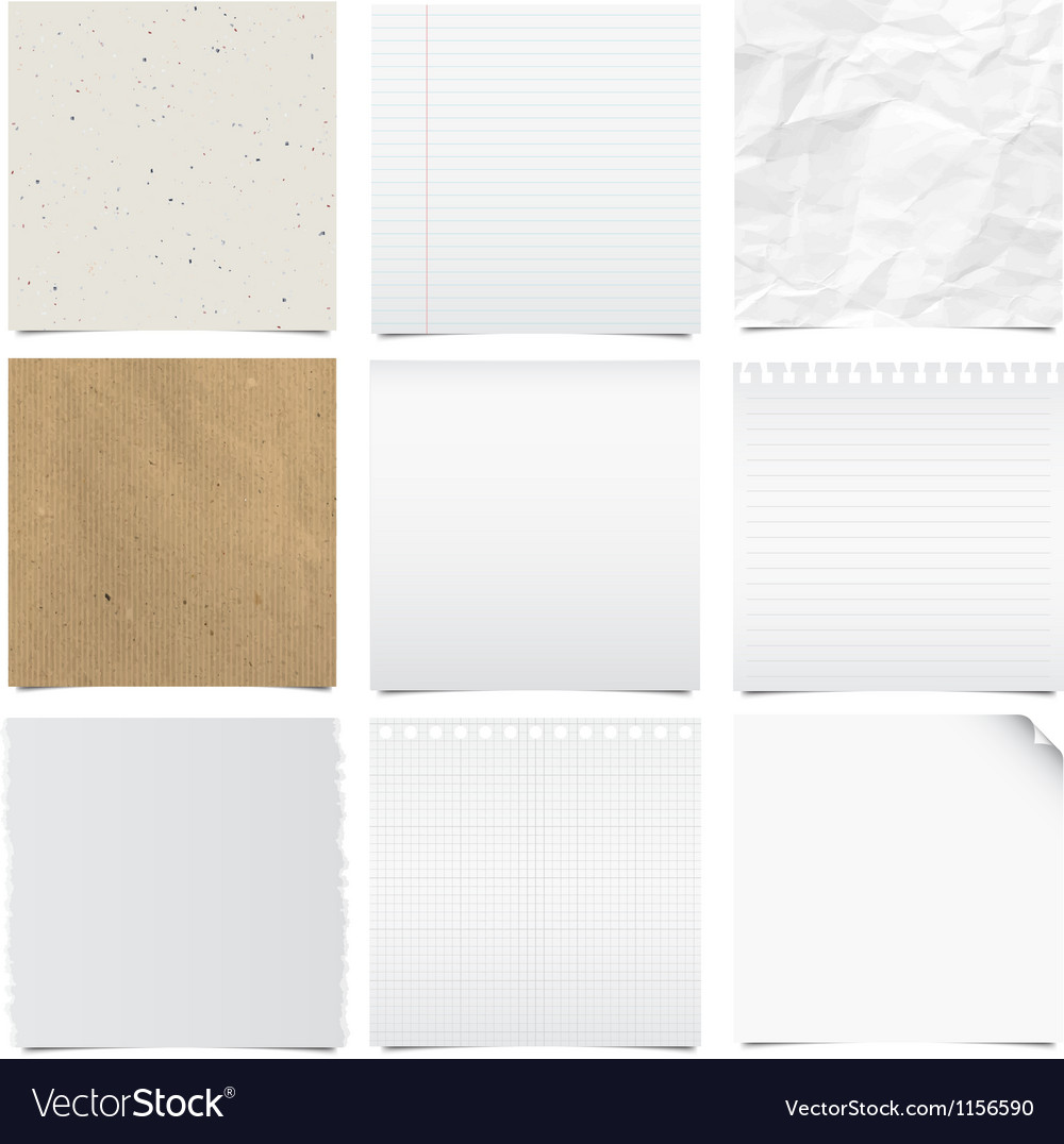 Collection of note papers background vector | Price: 1 Credit (USD $1)