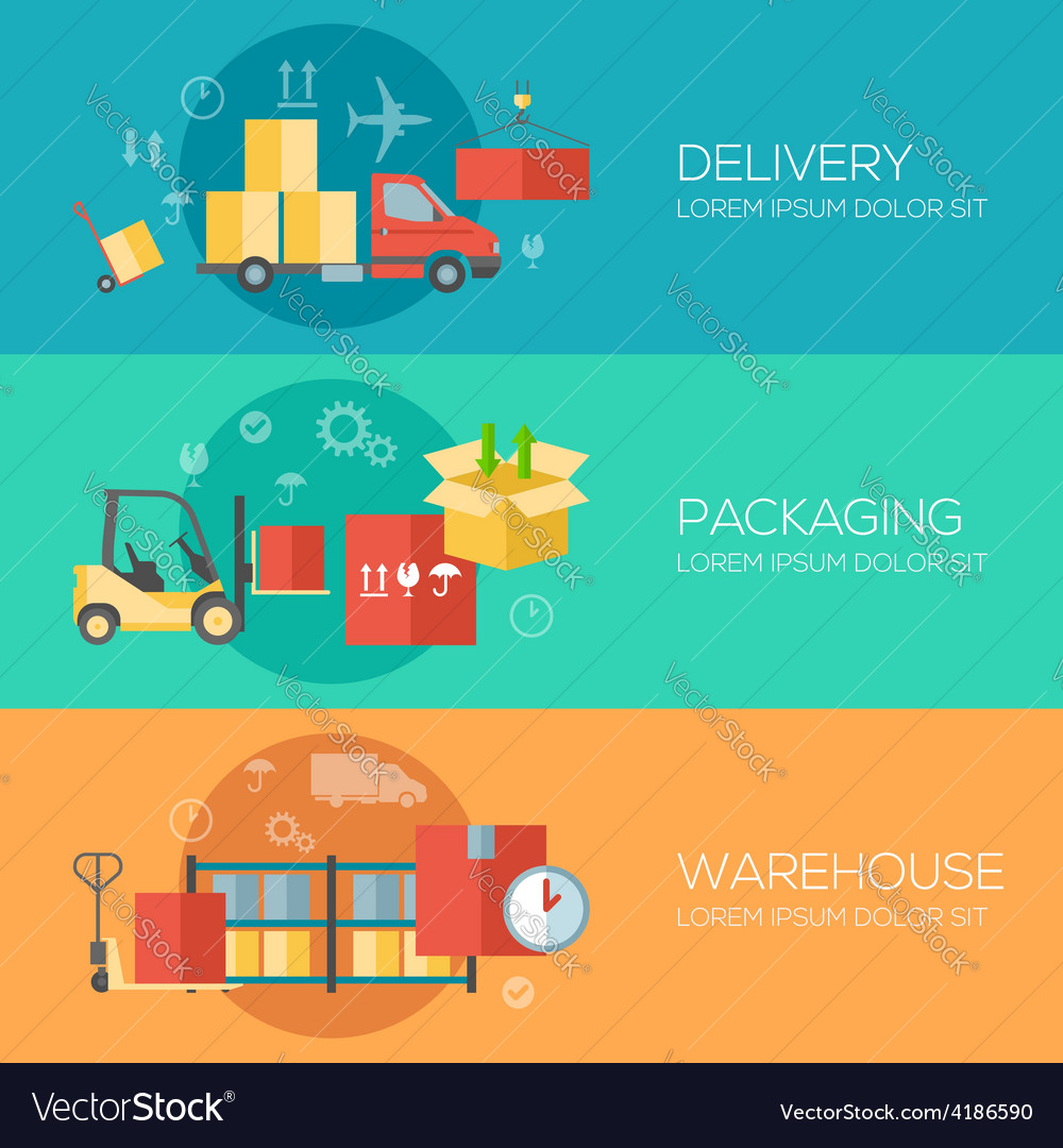 Flat design concepts for warehouse packing vector | Price: 3 Credit (USD $3)