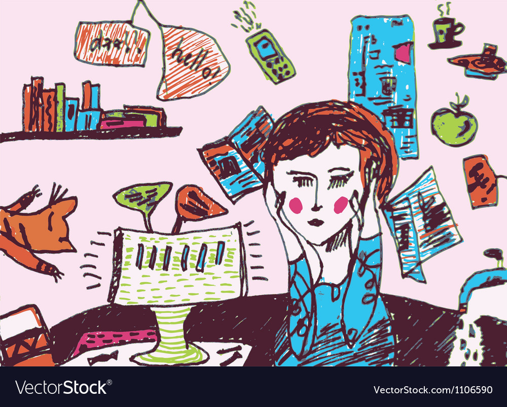 Girl is very busy and exhausted vector   Price: 1 Credit (USD $1)