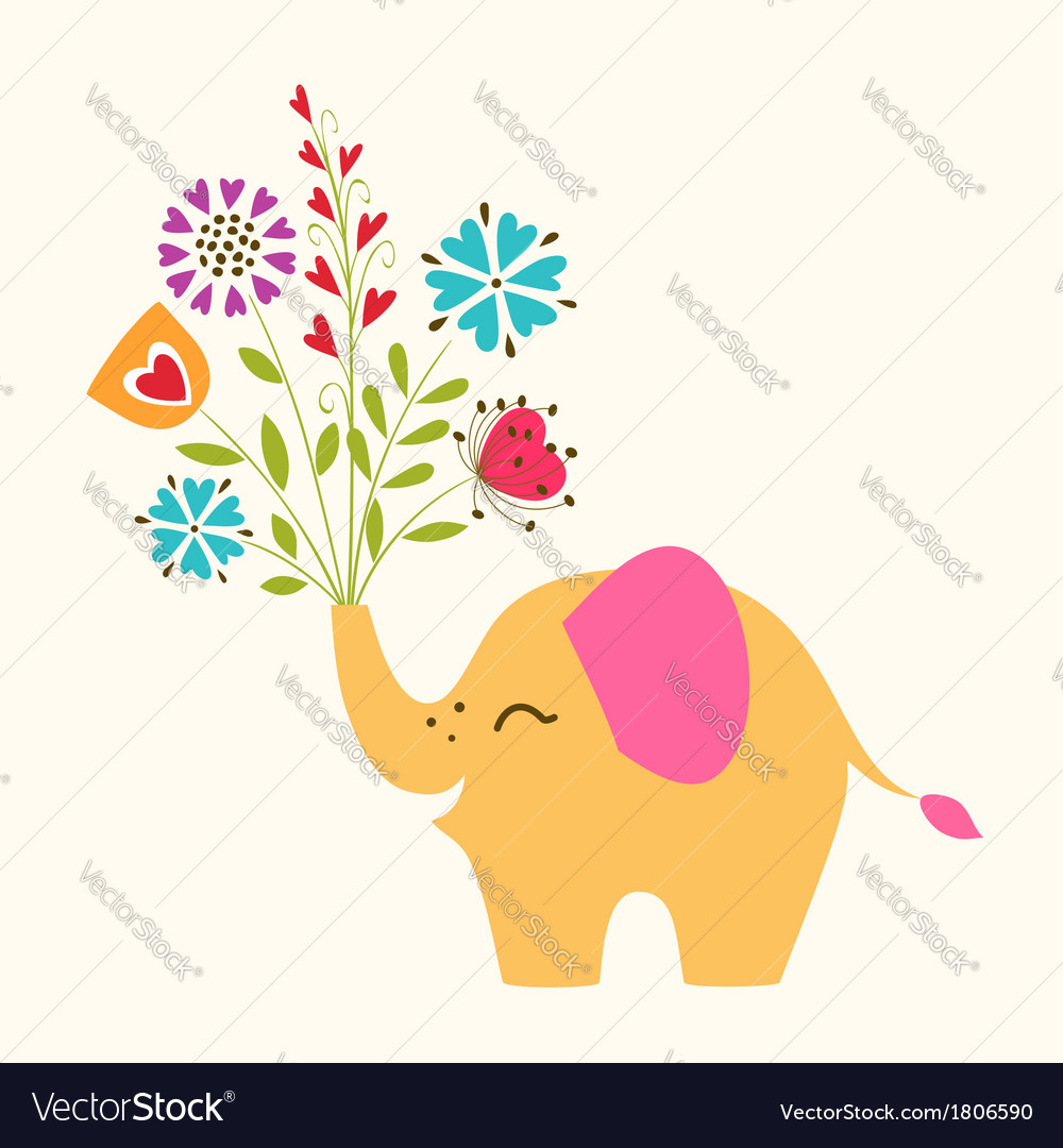 Happy little elephant vector | Price: 1 Credit (USD $1)
