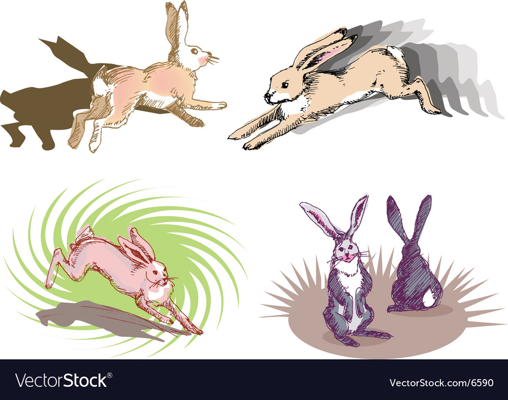 Rabbit running vector | Price: 3 Credit (USD $3)
