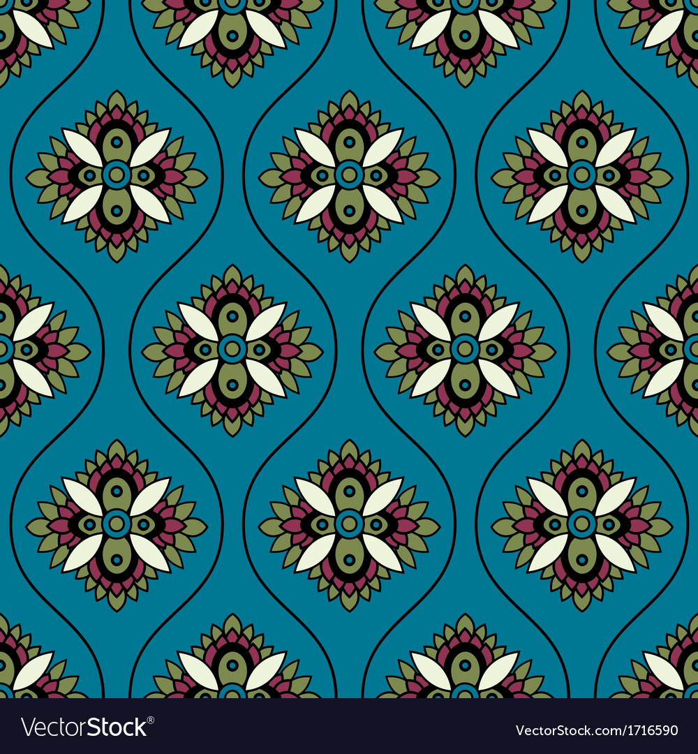 Seamless floral paisley ornament pattern vector | Price: 1 Credit (USD $1)