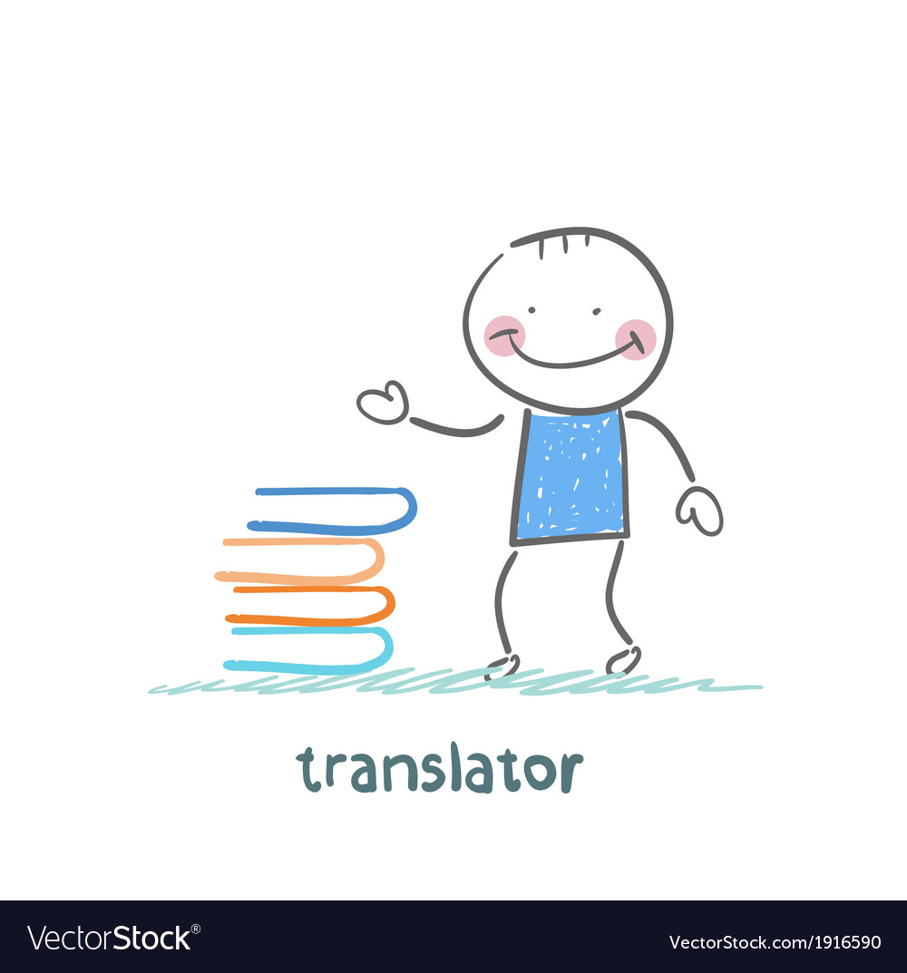 Translator standing next to a stack of books vector | Price: 1 Credit (USD $1)