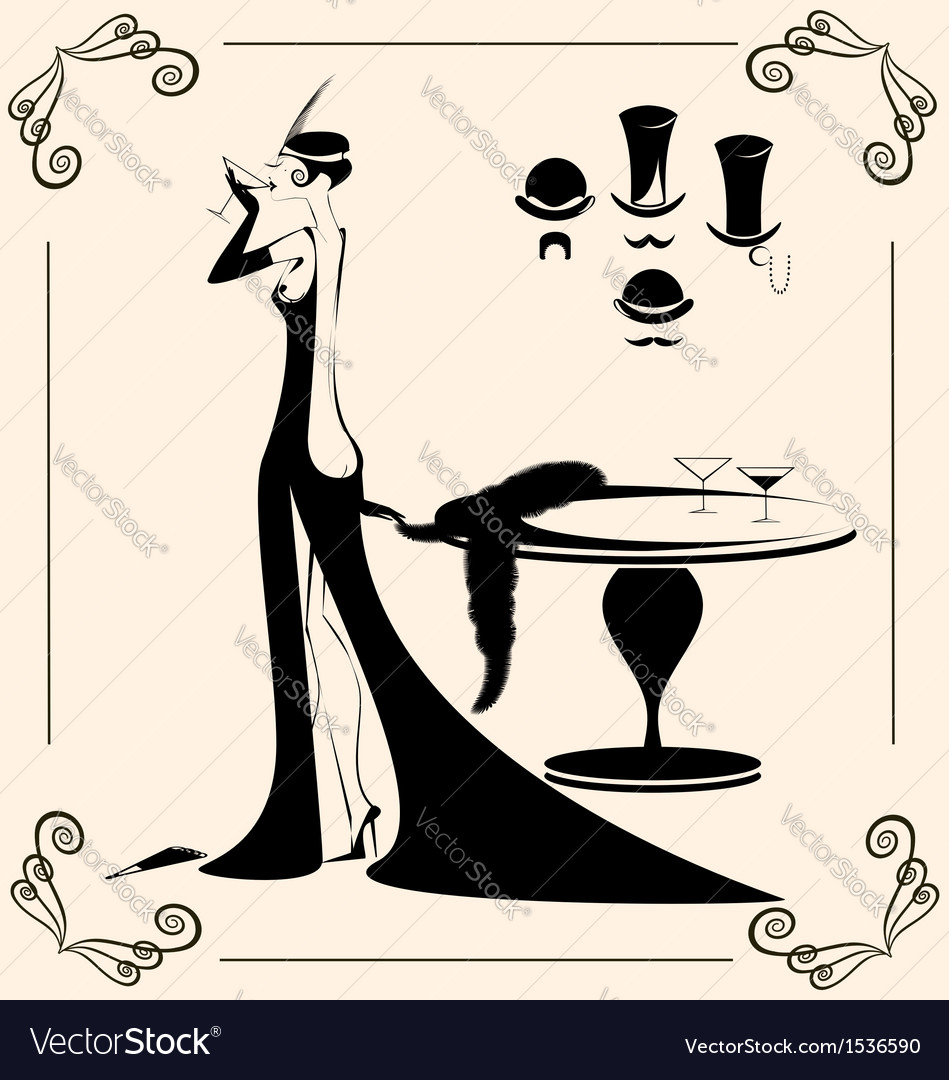 Vintage lady and drink vector | Price: 1 Credit (USD $1)
