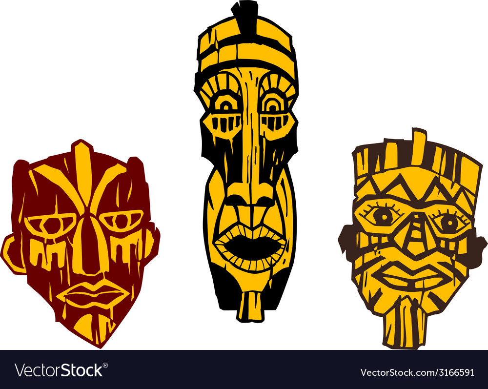 Ancient masks vector | Price: 1 Credit (USD $1)