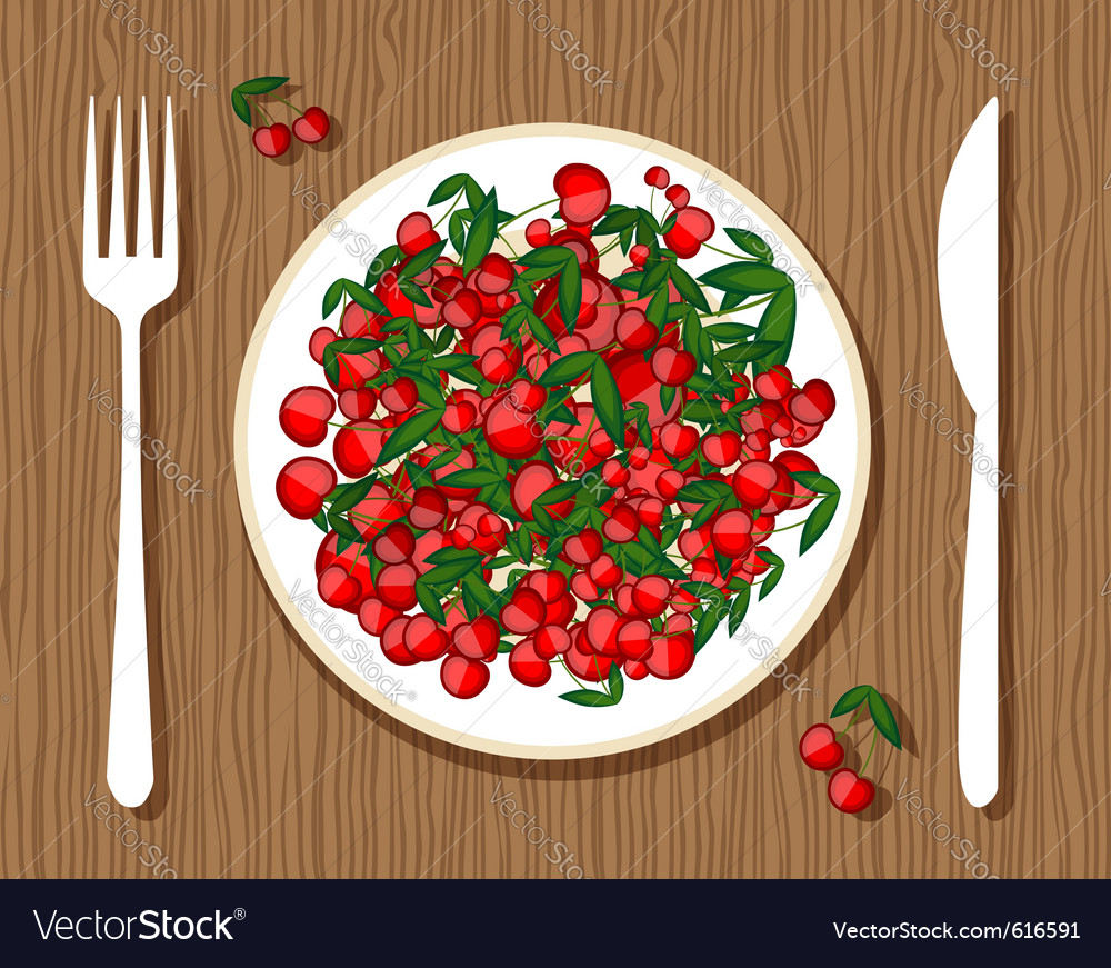 Cherries on plate vector | Price: 1 Credit (USD $1)