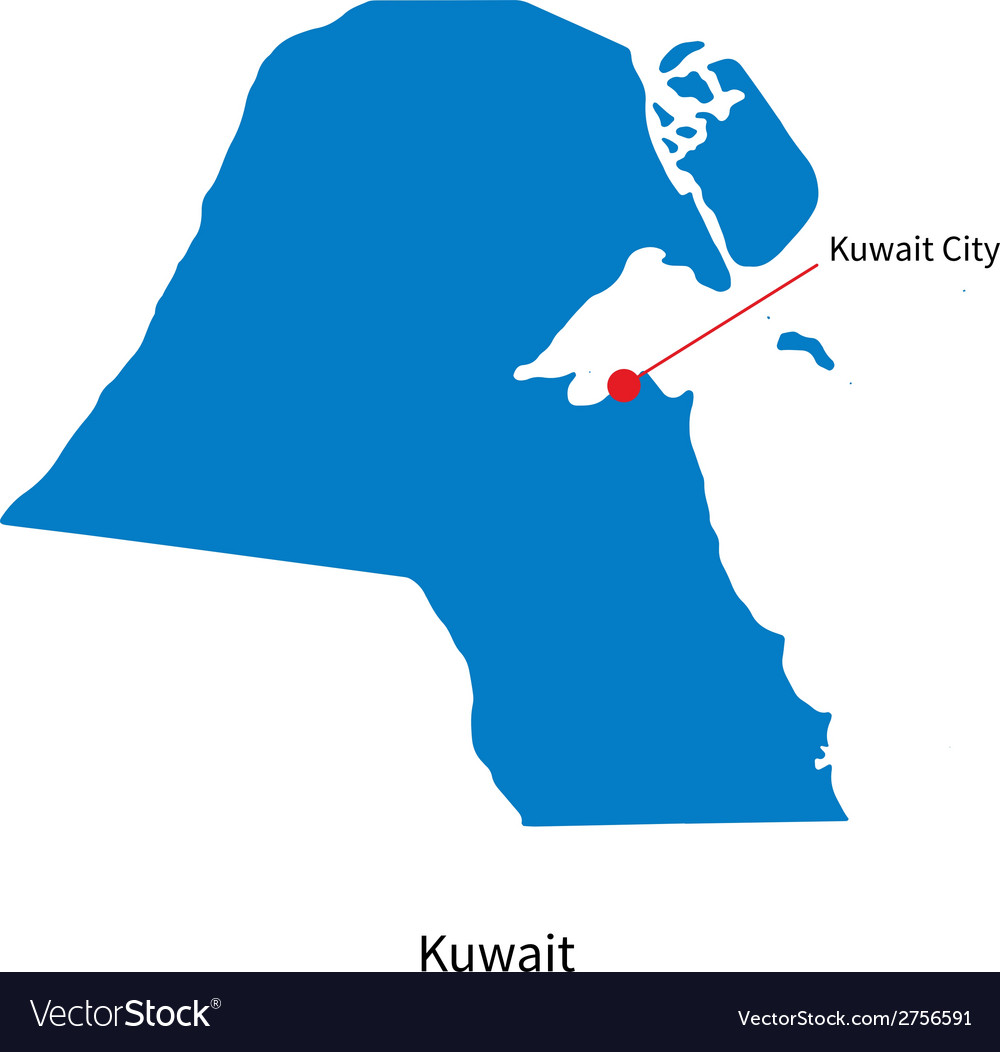 Detailed map of kuwait and capital city kuwait vector | Price: 1 Credit (USD $1)