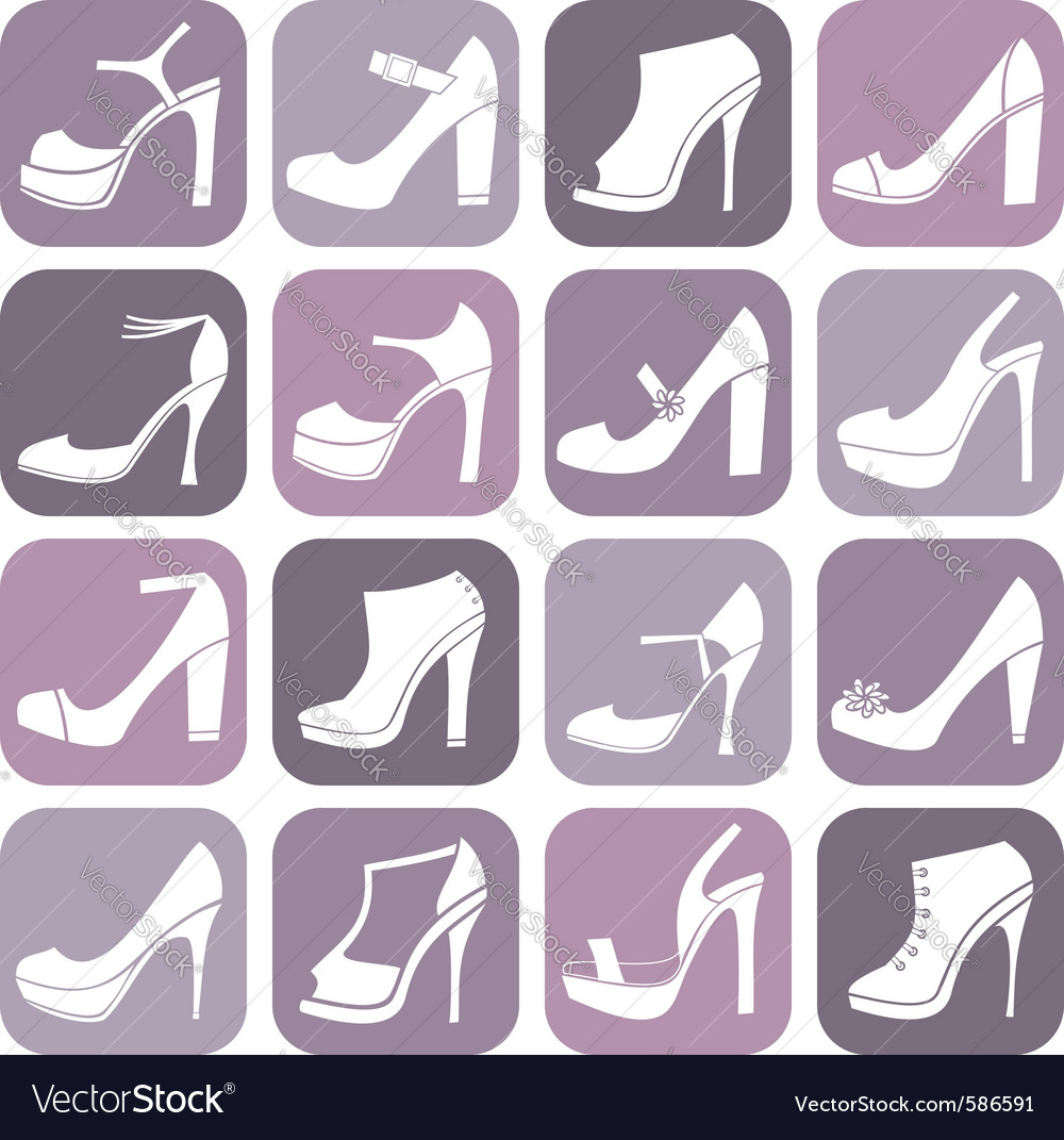 Fashion shoes icon set vector | Price: 1 Credit (USD $1)